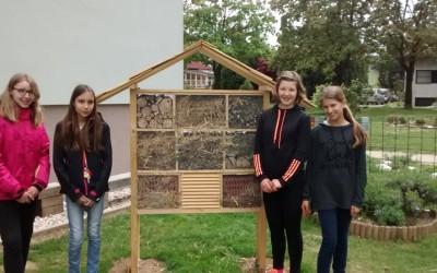 Hotel za žuželke na šolskem ekovrtu